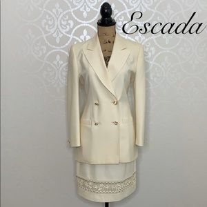 ESCADA COUTURE IVORY JACKET AND SKIRT SET